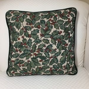 Other - Christmas Holly Accent Pillow Velvet Back